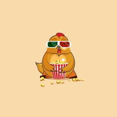 Emoji character cartoon Hen is watching movie