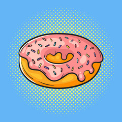 Vector hand drawn pop art illustration of donut. Fast food.