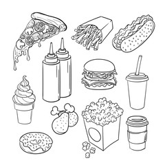 Vector hand drawn pop art monochrome set of fast food.