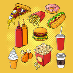 Vector hand drawn pop art set of fast food.