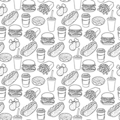 Vector hand drawn pop art monochrome fast food pattern.