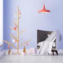 mockup interior with Christmas tree and armchair