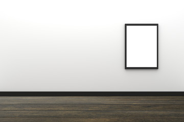 3D Rendering : illustration of blank black photo frame hanging on white wall interior with wooden floor,clipping path inside frame included,for your image advertising