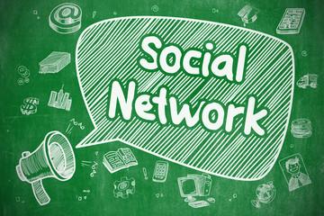 Social Network - Doodle Illustration on Green Chalkboard.