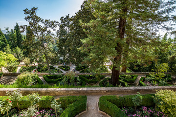 View of the Generalife gardens in Alhambra, Spain