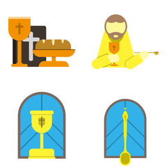holy communion flat icons