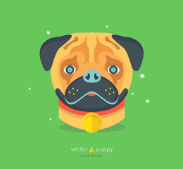 Vector illustration of funny pug dog. Cute animal character for print, card. Colorful flat style. Puppy icon.