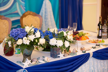 Wedding decor blue color with flower