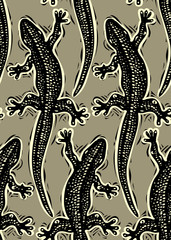 Vector reptilian seamless pattern, lizards top view continuous b