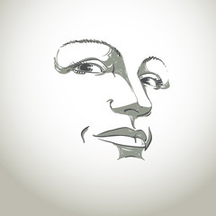 Facial expression, hand-drawn illustration of face of girl with