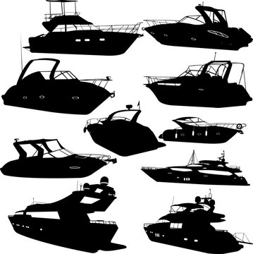 motor yacht collection silhouettes - vector