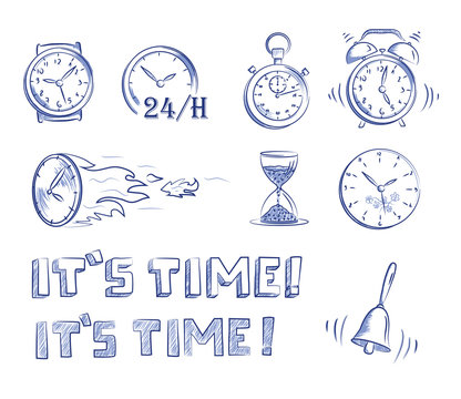 Icon set time and clocks. Hand drawn cartoon doodle vector illustration.