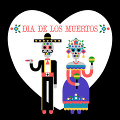 Day of the Dead (Dia de los Muertos). Mexican holiday. Vector Illustration of couple of skeletons