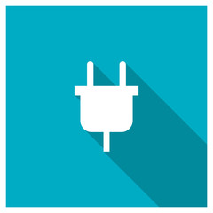 Power plug icon, image jpg, vector eps, flat web, material icon, icon with long shadow on blue background