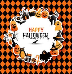 Halloween banner on colors background. Invitation to night party