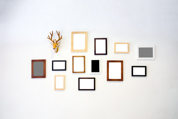 Wooden frame photo decorate white wall