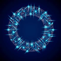 Vector sparkling circuit board circle, digital technologies abst
