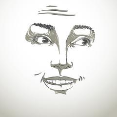 Monochrome vector hand-drawn image, blameworthy young woman. Bla