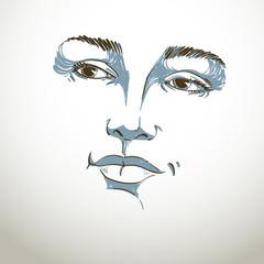 Hand-drawn portrait of white-skin flirting woman, face emotions