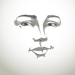 Monochrome art vector portrait of flirting woman, face expressio
