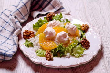 salad with rice, orange and cottage cheese