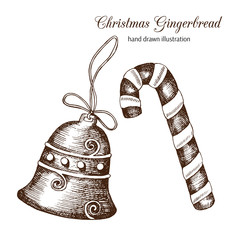 Vector set of Christmas gingerbread in the form of a bell and candy hand-drawn. Sketch. Vintage style. Happy New Year.