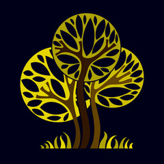 Art fantasy illustration of tree, stylized eco symbol. Graphic d