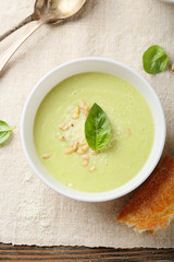 Cream soup with cheese top view