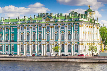 View of royal Hermitage palace on the bank of Neva river, Saint Petersburg, Russia.