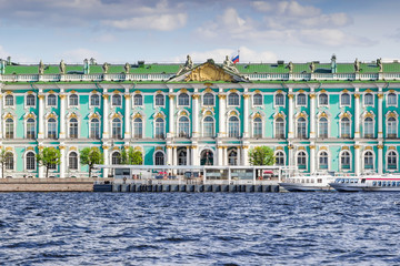 View of the building of Hermitage palace and Neva river, Saint Petersburg, Russia.