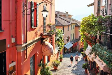 Old street of Salita Serbelloni in beautiful Bellagio, Como lake, Italy.