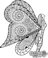 Hand drawn angle butterfly with beautiful wing  zentangle style inspired for t-shirt designColoring book for kids and adults.