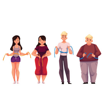 Fit and fat men and women measuring themselves with a tape, cartoon vector illustration isolated on white background. Man and women with a measuring tape, upset with the weight loss results
