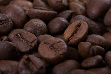 coffee beans close-up. background