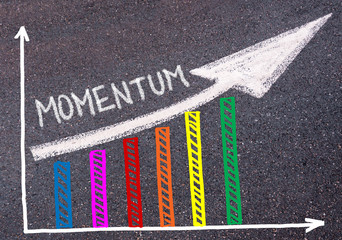 Momentum written over colorful graph and rising arrow