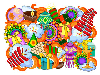 India festival of Lights Happy Diwali doddle background