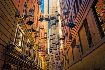 Printed roller blinds Sydney Empty birdcages at Angel Place, Sydney