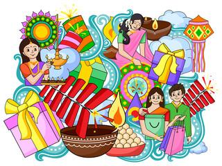 India festival of Lights Happy Diwali doddle background
