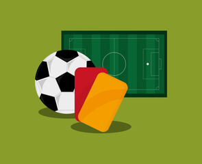 field and ball soccer football related icons image vector illustration design