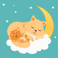 Cute Cat And Kitten Sleeping On The Moon. Sweet Kitty Cartoon Vector Card. Good Night Vector Illustration. Sleeping Cats Dreaming.