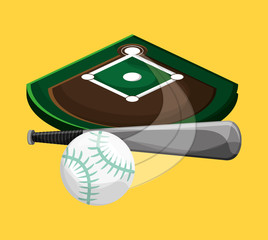 field and ball baseball related icons image vector illustration design