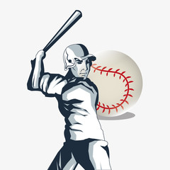 ball and player baseball related icons image vector illustration design