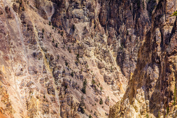 Rocky walls along the Grand Canyon of the Yellowstone. It is the view from Artist Point. Yellowstone National Park, Wyoming