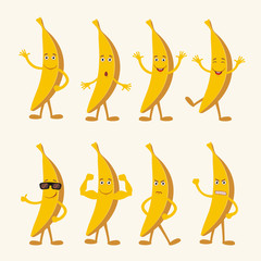 Vector set isolated funny banana. Collection cute banana in cartoon style.