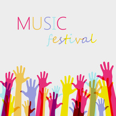 Vector background. colorful up hands on music festival