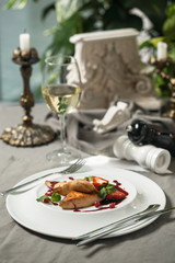 Foie Gras with cranberry sauce and wine