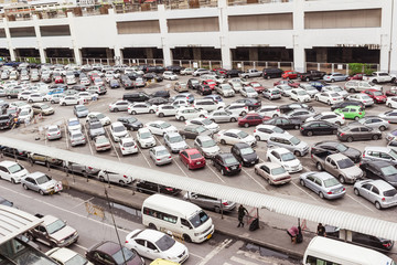 Bangkok, Thailand - June 5, 2016 : Car park at Bangkok view from Jatujak sky train station