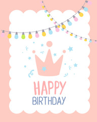 Vector colorful illustration. Happy birthday template poster wit