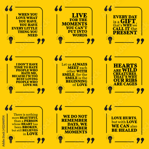 set of motivational quotes about love moments present smile rh fotolia com