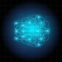 creative of human brain technology background